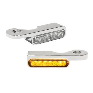 HEINZ BIKES CHROME FRONT LED TURN SIGNALS FOR HARLEY DAVIDSON SOFTAIL 2000-2014
