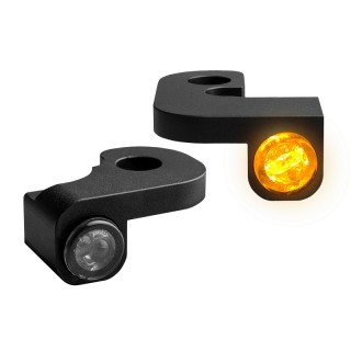HEINZ BIKE FRONT LED TURN SIGNALS NANO BLACK TOURING 95-08 WITH CABLE CLUTCH