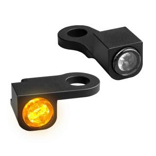 HEINZ BIKE FRONT LED TURN SIGNALS NANO SERIES BLACK HARLEY SPORTSTER 2014-2020