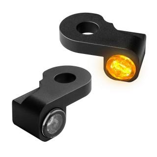 HEINZ BIKE FRONT LED TURN SIGNALS NANO SERIES BLACK HARLEY V-ROD/NIGHT ROD 02-17